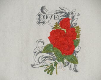 Designer Hand Towel, LOVE AND ROSES, Embroidered, Velour Hand Towel, Terry Cloth Hand Towel, Gift Item