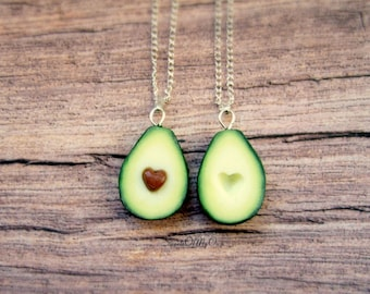 Avocado Necklaces - Best Friend Necklaces - Avocado Heart - BFF Necklaces - Food Jewellery - Handmade in UK with Polymer Clay
