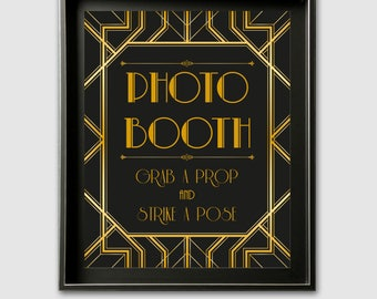 Photo Booth Sign, Wedding Photo Booth Sign, Photo Booth Printable Sign, Selfie Station Sign Template, Wedding Printable, Art Deco Wedding
