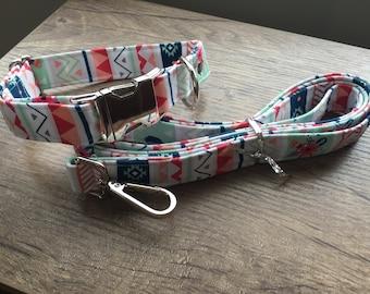 Geometric Love Dog Collar & Leash Combo