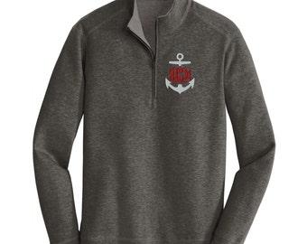 Anchor Monogrammed Pullover. Quarter Zip Pullover. Monogram Quarter Zip Sweatshirt. Monogrammed Pullover. Nautical Monogram. K807