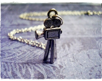 Silver Old Fashioned Video Camera Necklace - Antique Pewter Video Camera Charm on a Delicate Silver Plated Cable Chain or Charm Only