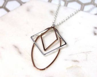 Necklace, Mixed Shapes, Silver Plated, Rose Gold, Gift For Her, #01890