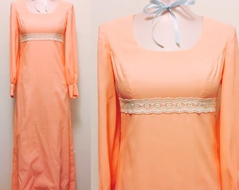Sweet peach maxi / 1970s formal boho