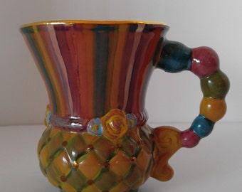 Pair of Rare/Retired Mackenzie-Childs Trapeze Majolica Pottery Mugs