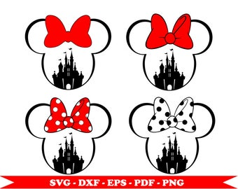 Disney Castle Minnie Mouse svg, clip art, SVG digital format, EPS, DXF, PNG, PDF. For cameo Silhouette, vinyl, embroidery, cutting file