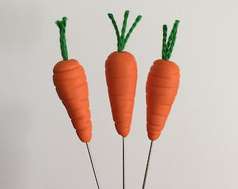 3 Polymer Clay Carrot Decorative Pins