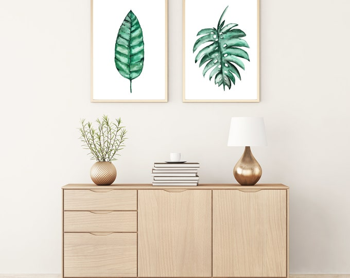 Set of 2 Prints Green Tropical Leaves Banana Monstera Deliciosa Leaf Painting Botanical Drawing Minimalist Plant Art Hand-painted Watercolor