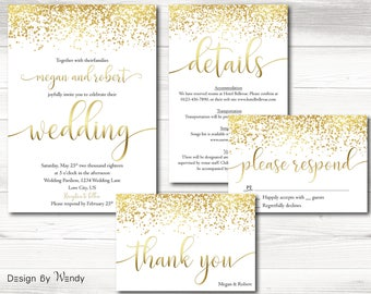 Rose gold wedding invitation simple printable invitation rose