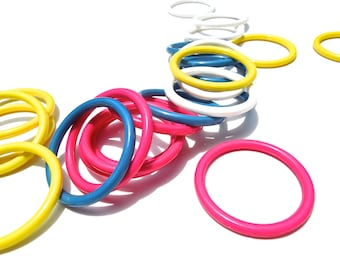 SUPPLY: 25 Vibrant Colorful Acrylic Rings - Plastic Loops
