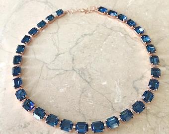 Swarovski necklace, rose gold, navy blue, wedding necklace, bridal necklace, bridesmaid gift