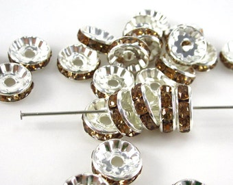 25 Topaz and Silver 10mm Crystal Rondelles