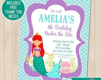 Mermaid Party Invitation   Mermaid Birthday Invitation   Mermaid Printable   Under the Sea   1st Birthday Invitation   Amandas Parties To Go