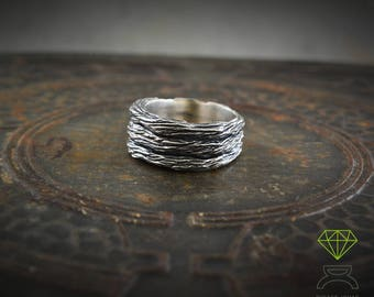 Rustic Silver Band ring, Band Ring for men, Original alliances, Sterling silver oxidised ring, Handmade rings
