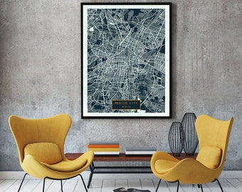 25% off SALE Mexico City A1 23.4 x 33.1 in rolled Navy Mexico CANVAS Large Art City Map Mexico City Mexico Art Print poster map art