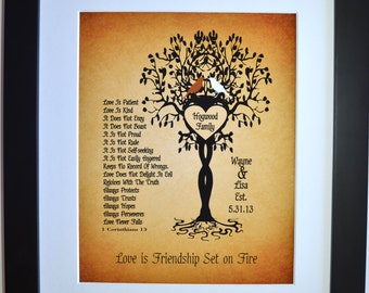First Anniversary Paper Gift, Love is Patient Love is Kind Personalized Custom 1 Corinthians13 paper anniversary gifts, Love Birds Tree Gift