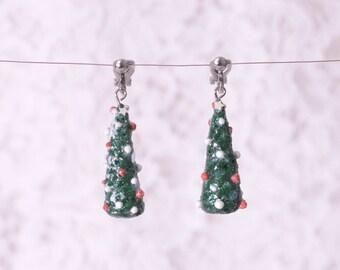 Art Deco Dangle Polymer clay earrings, green festival earrings, starry chrisms tree earrings, Geometric earrings, Modern earrings