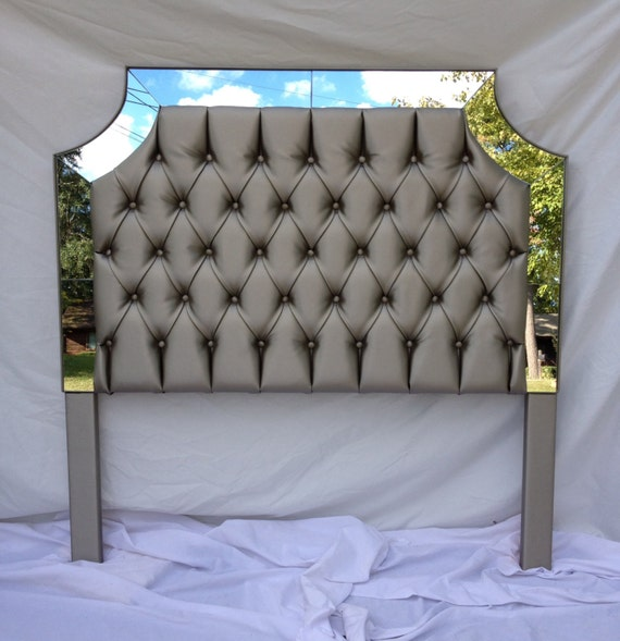 Perfect Gray Faux Leather Upholstered Headboard With Mirrors Tufted Headboard King Size  Queen Size Full Size Twin Size Headboard