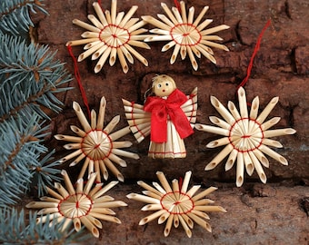 Tree ornaments straw star + Angel Baumbehang - decoration of straw for Christmas