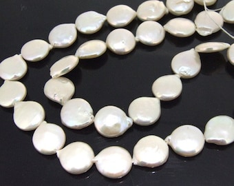 Coin Freshwater Cultured Pearl Beads Gemstone 10mm Strand, coin white pearl , real pearl,