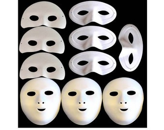 10 Fancy Dress Masquerade Masks White Flock Party Dress Costume with Elastic