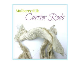Mulberry Silk - Silk Carrier Rods - Bombyx Mori. Natural Color - undyed