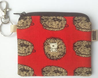 Small Japanese fabric purse, keyring, coin purse, Hedgehog and scrubbing brush print, bag accessory