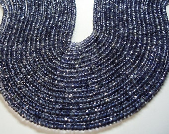 Super Natural Color Iolite Faceted Machine Cut Roundel Beads Size 3 To 3.50 mm String Lenth  13'' Inch  String 1 ...,..............