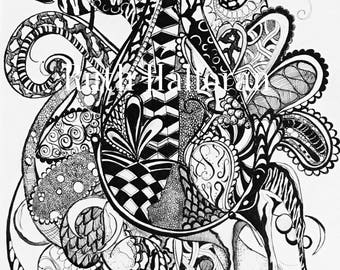 Zendoodle zentangle Tears, illustration, pen and ink, black and white, print,original, ready to frame