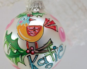 Monogrammed glass ornament, PERSONALIZED hand-painted ornament, Bird ornament