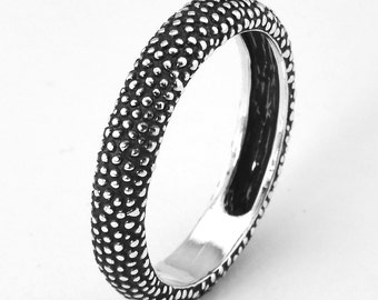 Sterling Silver Bird Claw Patina Ring Handmade Textured Ring Band Black Oxide Jewellery