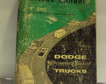 Vintage 1962 Dodge Drivers Manual R series  bx4  84136571  Free Shipping in USA