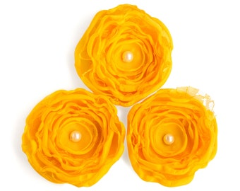 Handmade silk flowers - 3 yellow flowers, floral appliques, sew on flowers, scrapbooking flowers, wedding decor, shabby chic flowers