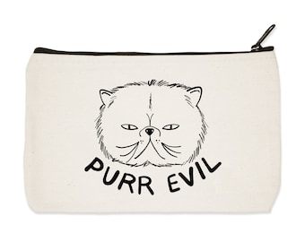 Purr Evil - Canvas Zip Pouch