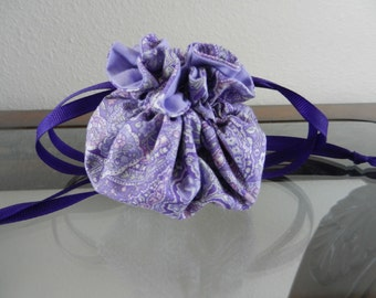 Purple jewelry drawstring bag