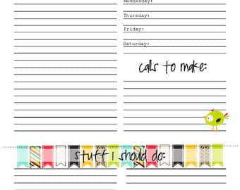 Weekly/Daily Planning Worksheet: Bees, Banners, and Birds