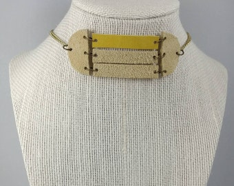 Leather/Jewelry/Choker/Necklace/Geometric/Boho/Chic/Handmade/Unique/Gifts for Her/Women/Style/Fashion/AntiqueGold/Cream/Yellow/Ready to Ship