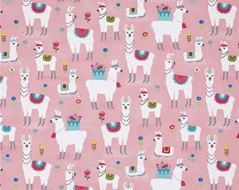 Alpacas on Pink from Timeless Treasure's Alpaca Adventures Collection