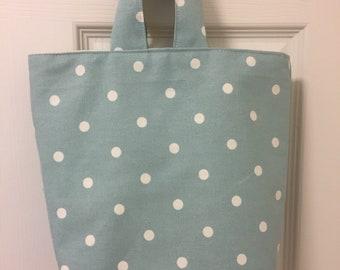 Turqouise spotty bag