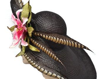 Kentucky Derby Hat Black Panama Straw HatWide Brim Easter Hat