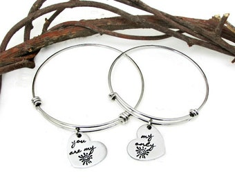 You are my Sunshine My Only Sunshine Bracelet Set | Mommy & Me Bracelets | Mother Daughter Jewelry | Hand Stamped Hearts | I Love You | Gift