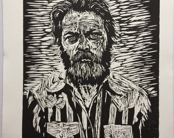 Nick Offerman, the giant among men.  Wood block print