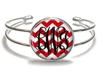 Red Chevron Monogram Bracelet Style 408