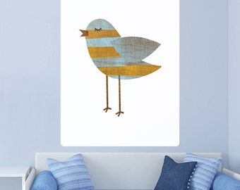 Yellow Bluestripe Bird Rustic Wall Decal - #62987