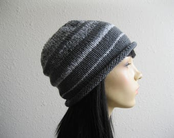 Knitted Slouchy Beanie Hat Knitted Roll Brim Beanie Hat Gray Stripe Beanie Hat Knit Hat Knitted Womens Beanie Winter Beanie Hat Knit Beanie