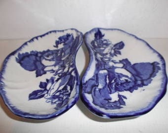 Antique English Staffordshire Ironstone Pottery Dishes Circa 1800s Blue and White Roses