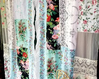 Boho Shabby Chic Curtains Lace-IN STOCK multicolor HippieWild Roses Floral lace vtg linens patchwork Boudoir bohemian