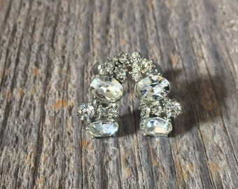 Vintage Rhinestone Earrings, Screw Backs, Clear Stones