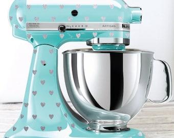 Glitter Heart Polka Dot Kitchen Mixer Decals