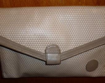 True Vintage 1983 Taupe Triangle Pattern Leather Trim Shoulder Bag Cross Body Bag